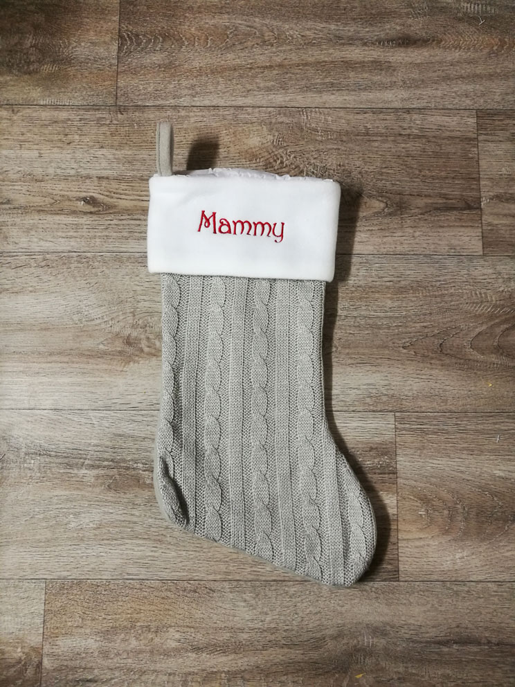 Light Grey Embroidered Stocking
