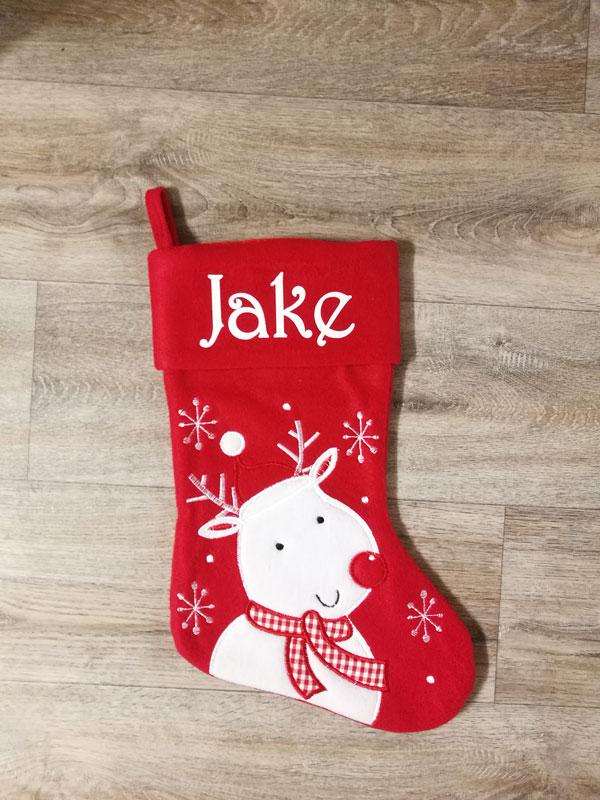 Red Deluxe Reindeer Stocking