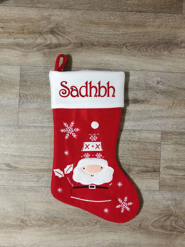 White Deluxe Santa Stocking